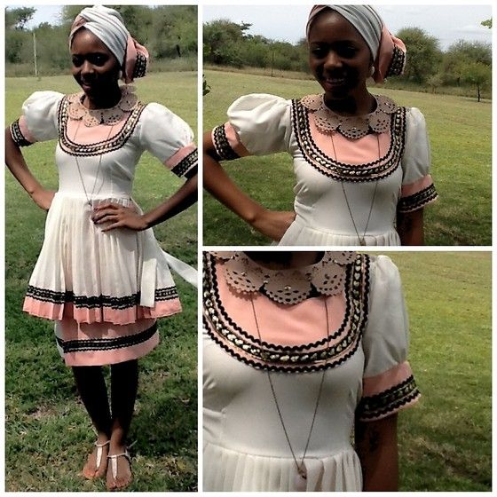 Gontse Mathabathe - Sepedi Doek, Traditional Sepedi Dress, Rt Sandals - +traditional Sepedi