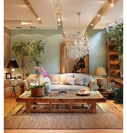 living room idea - Home and Garden Design Ideas This is so peaceful and pretty with the soft blue and tan and the wood grain.