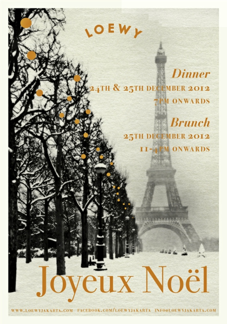 Celebrate Christmas at Loewy  Christmas Eve & Christmas Dinner 24 December & 25 December 2012 Starts from 7PM  Christmas Brunch 26 December 2012 11AM - 4PM  RSVP to +6221.2554.2378