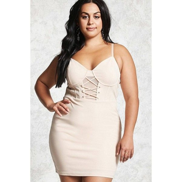 Forever21 Plus Size Cami Sheath Dress ($35) ❤ liked on Polyvore featuring plus size women's fashion, plus size clothing, plus size dresses, nude, v neck dress, forever 21 cocktail dresses, v-neck dresses, pink camisole and pink cocktail dress