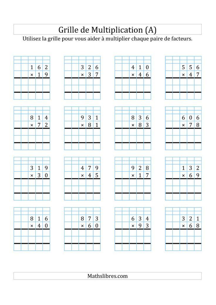 Multiplication de nombres 3 chiffres par des nombres 2 - Exercice tables de multiplication ce2 ...