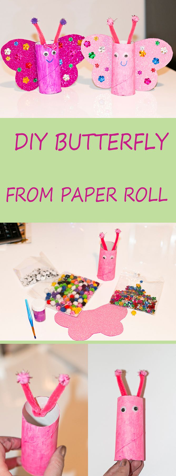  DIY  batterflies from  paper roll.  Quick and  easy. #DIY