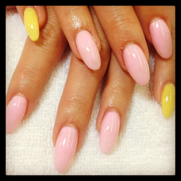 pink and yellow almond nails megs nail designs