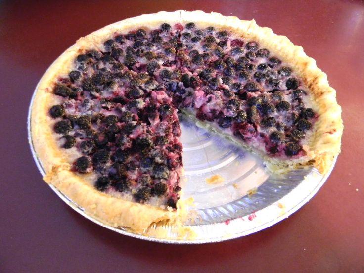 Black Raspberry Custard Pie with Freshly Picked Berries