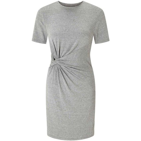 Miss Selfridge PETITE Knot T-Shirt Dress ($42) ❤ liked on Polyvore featuring dresses, grey marl, petite, grey tee shirt dress, grey dresses, t shirt dress, marled dress and knotted t shirt dress