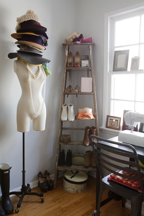 Vintage Ladder Shoes 2 How to Decorate with Vintage Ladders {20 Ways to Inspire}