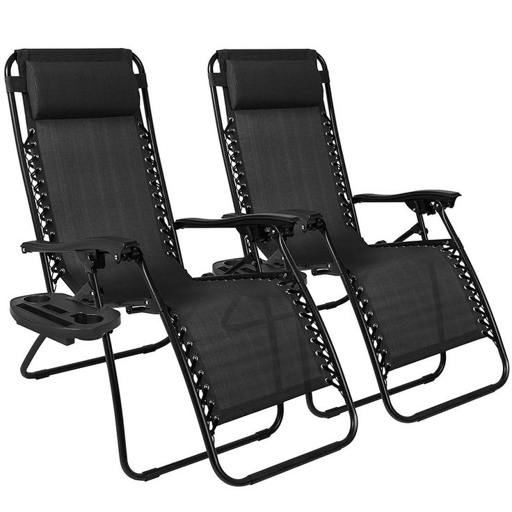 Two  Zero Gravity Chairs Black Lounge Patio Chairs Outdoor Yard Beach Cup... #BestChoiceProducts