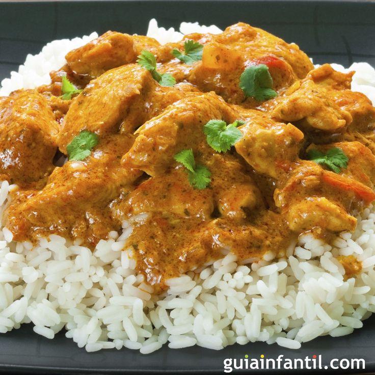 Arroz con pollo al curry. Cocina hindú para niños