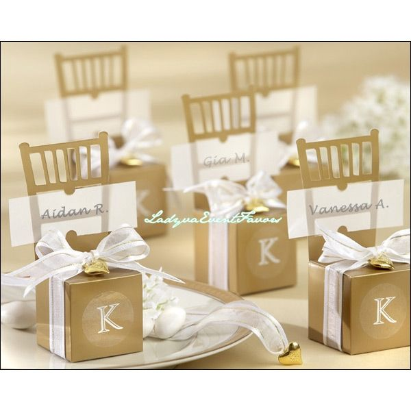 Gold chair with heart charm favor box