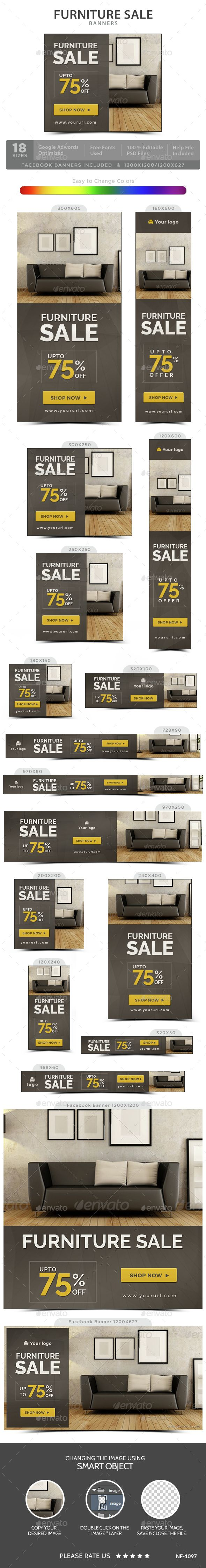 Furniture Sale Web Banners Template PSD. Download here: http://graphicriver.net/item/furniture-sale-banners/15014197?ref=ksioks