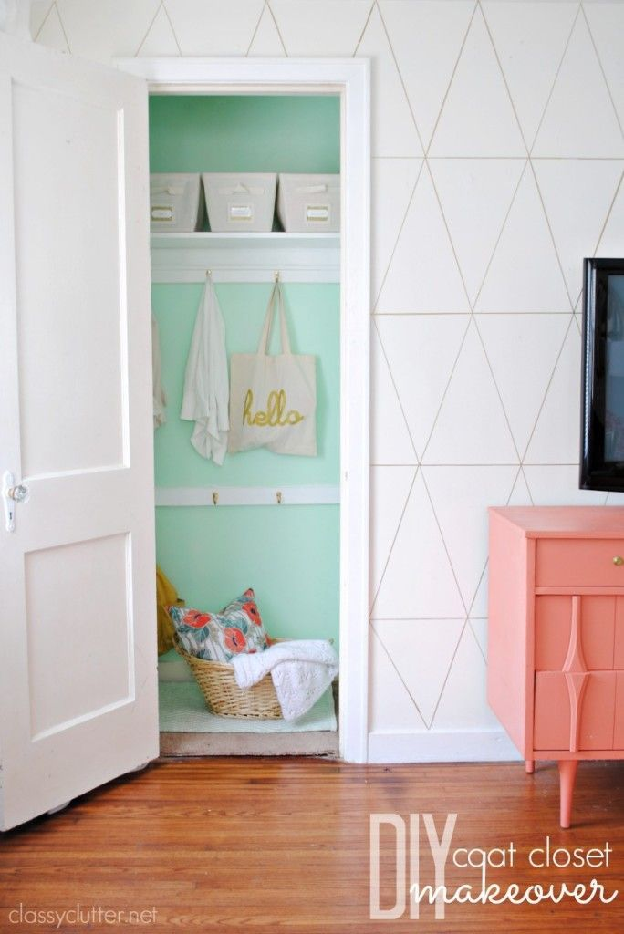 """DIY Coat Closet Makeover_Love the idea of using a fun pop of color in the closet...however, am I the only one who finds it funny that the """"after"""" photos don't show any of the coats that were once hung in this closet?"""