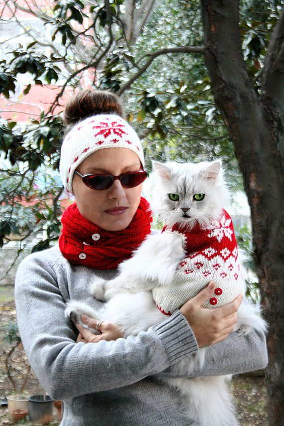 Snowflake Pattern Matching Sweater For Cats Pet And Human