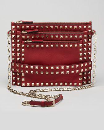 Love. Rockstud Triple-Zip Crossbody Bag, Scarlet by Valentino.