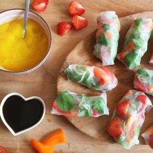 Ingrediënten voor 2 personen – 1 zakje veldsla – 6 kleine tom tom tomaten – 500 g aardbeien – 1 paprika – 12 vellen rice wraps – Sojasaus – 1 kleine mango – een snufje cayennepeper Bereidingswijze 1. Snijd de tomaten in kleine partjes, de paprika in reepjes en de aardbeien in plakjes. 2. Leg […]
