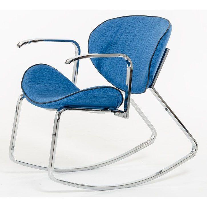 VIG Furniture VGEUMC-8709CH-A Modrest Corvallis Modern Fabric Rocking Arm Chair in Blue