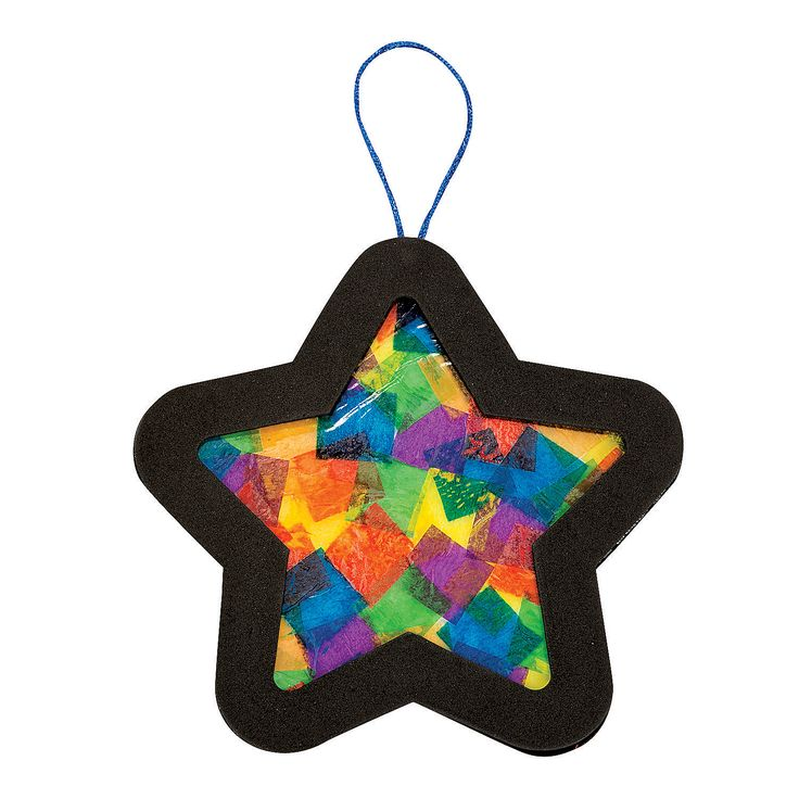 "Hang up this colorful star to bring a new light to your holidays! You'll love how the colors play on your tree when you use this Tissue Paper Star Ornament Craft Kit. A great craft project for you and your children. Includes acetate sheets. Foam. 8"" © OTC"