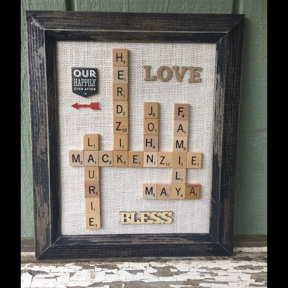 """Personalized rustic gifts home made FOR SALE-- Family scrabble 8X10 frames: $35 Family scrabble 11X14 frames: $45 Wall/Standing 9"""" tall Letters: $25 Horseshoes, 4-5"""" tall/wide: $20 Anniversary/new home/teacher/ dry erase 5X7 frames: $20 Button Art 8X10 Frames: $30 Penny Balloon 8X10 Frames: $30  These make amazing gifts for Fathers Day, Graduation, Christmas, Birthdays, Children Decor, Baby Showers, Bridal Showers, Anniversary or Wedding Gifts, Wedding Decor, Gifts for Him, Gifts for Her…"""