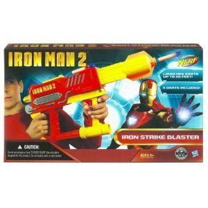 Iron Man Nerf Blaster by Hasbro. $24.12. Launches darts up to 20'. Features an extending barrel for blasting accuracy. The world needs you and your blaster to defend the forces of justice. Blaster comes with six darts. Awesome Iron Man character-themed NERF blaster. From the Manufacturer                Stark Industries got its start building technology just like this state-of-the-art blaster. When it comes to establishing a personal defensive perimeter using the latest...