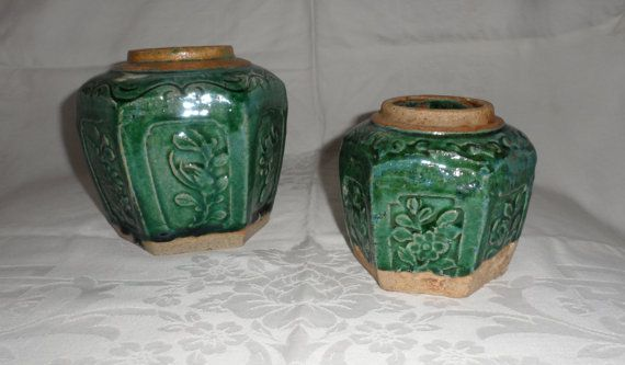Antique 1900s Chinese Ginger Jars/Turquoise Green/Six by BYGONERA