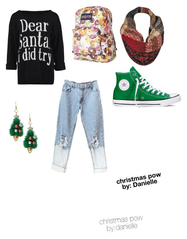 """""""christmas pow"""" by daniellefigueroa on Polyvore featuring Converse, JanSport and Black Rivet"""