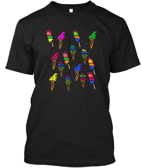 Different Candies A Sweet Tooth's Heaven Black T-Shirt Front