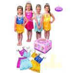 Disfraz Disney Princesas baúl 3/4 años Trajes de Blancanieves, Cenicienta, la Bella Durmiente y Bella. 3 faldas de Princesa. Collar, pendientes y anillo. Tiara