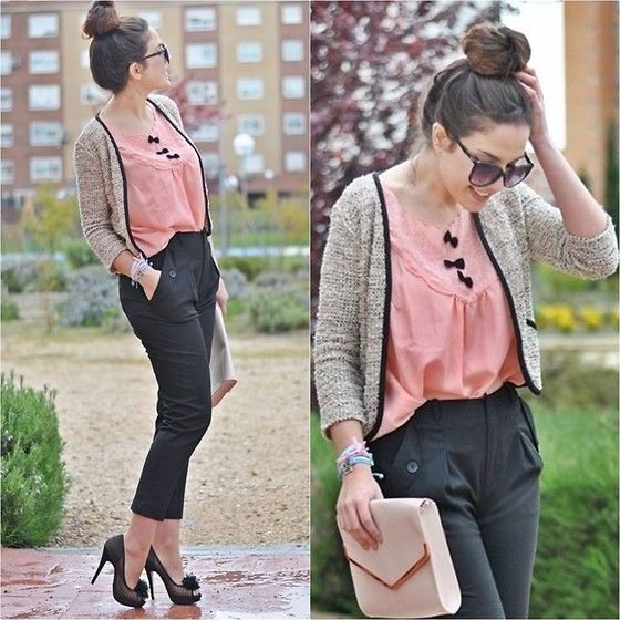 lovee the bow accents on the blouse.--  Romantic (by Crris LoveShoppingandFashion) http://lookbook.nu/look/3351273-Romantic