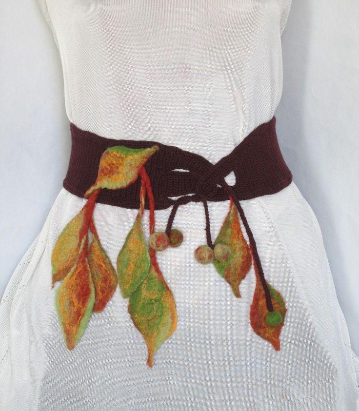 Boho Crochet Belt, Gypsy Crochet Belt, ,Felt leaves, Crochet  Belt,Pixie Fairy Belt,Brown Belt,Original Handmade,Funky Belt by AgathaBee on Etsy