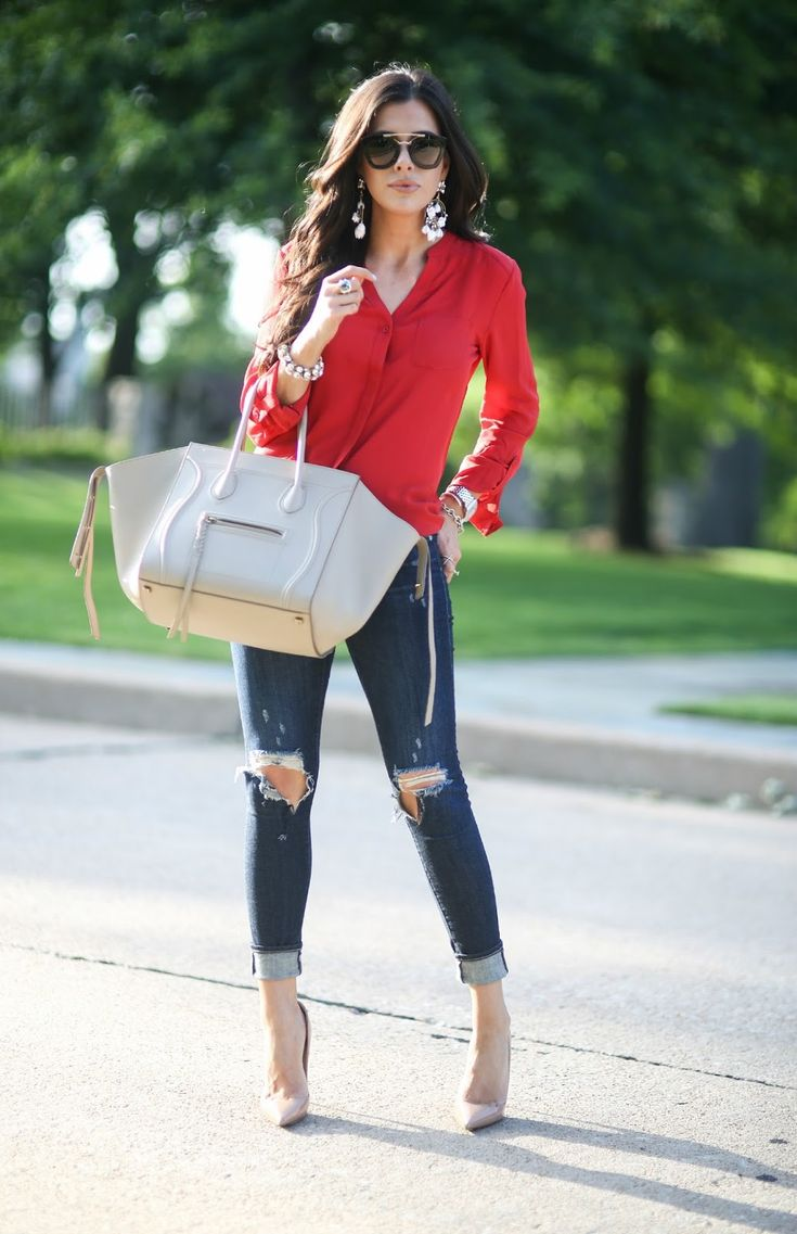 ripped denim, nude pumps, red blouse, beige bag