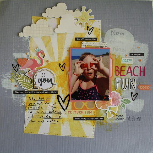 Sara Kronqvist - Saras pysselblogg: Crazy beach fun | Whimsical scrapbook layout