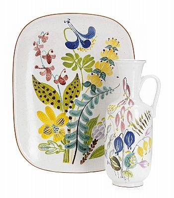 Stig Lindberg, Vase and saucer, Gustavsberg, earthenware, polychrome  painted decoration of flowers, signed Hand-thrown Gustavsberg studio  Sweden f/10 - 119 and the target signature Marianne Preissler and saucer  signed in yellow Gustavsberg studio Printz (Ursula P.), height 25;  length 33cm  link