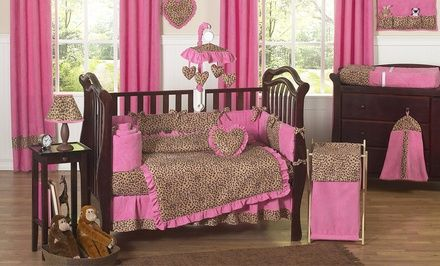 Sweet Jojo Designs Pink Cheetah Nursery Bundle with Crib Bedding, Changing Pad Cover, and Wall Decals. Free Returns.