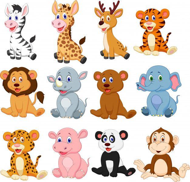 Wild Animals Cartoon Collection Set Cartoon Animals Baby Animal Nursery Art Cute Cartoon Animals
