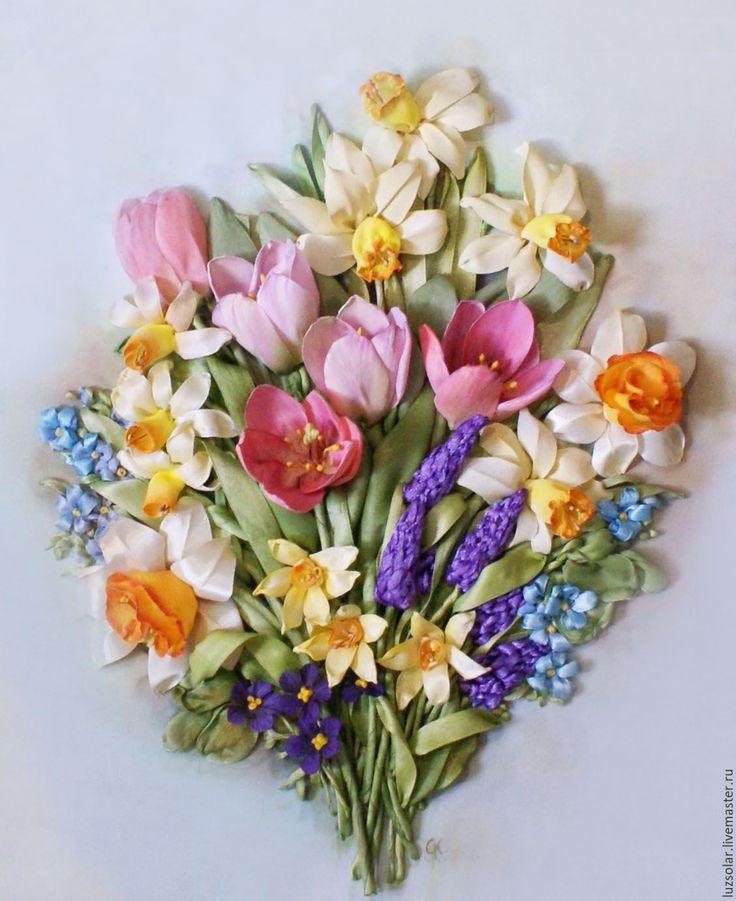 Купить Картина лентами Нежная весна 30 х 40 см - картина вышитая лентами
