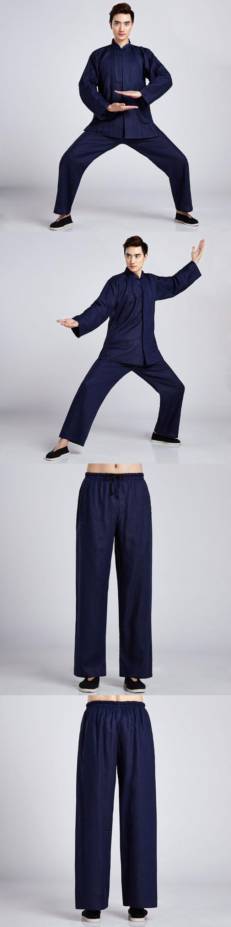 New Navy Blue Chinese Men's Classic Tai Chi Uniform Cotton Linen Kung fu Suit Clothing Size M L XL XXL XXXL 2516