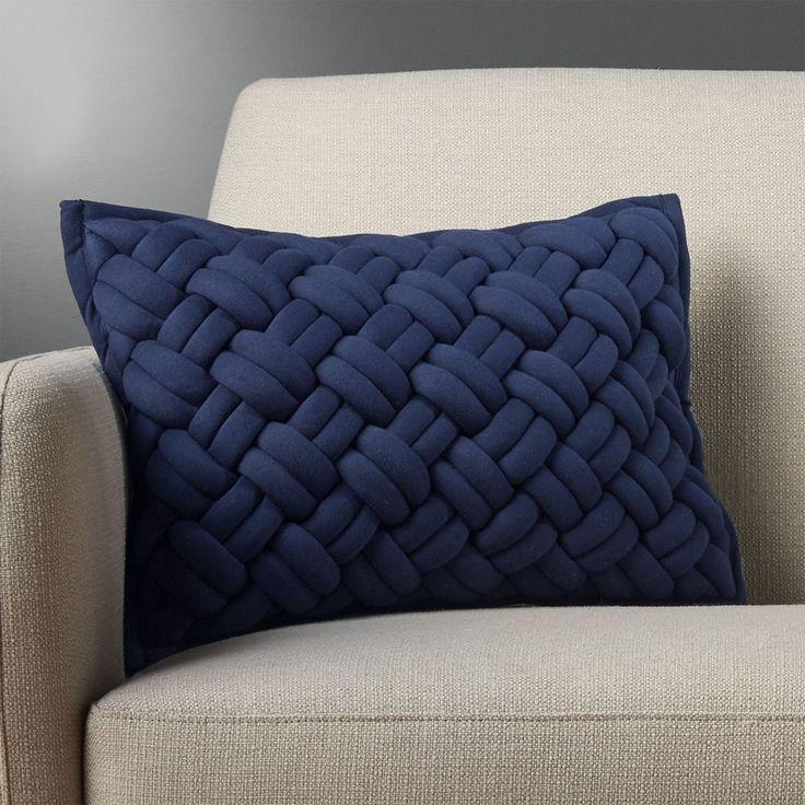 "18""""x12"""" jersey interknit navy pillow with down-alternative insert"