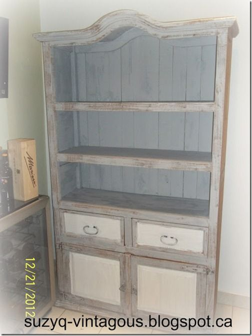 Beautiful White and Gray Armoire @ Simply Vintageous