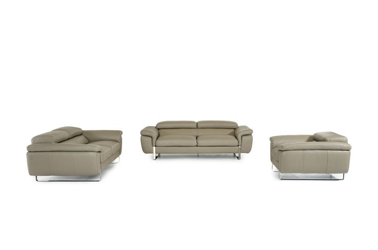 Lusso Highline Italian Modern Grey Leather Sofa Set VGFTHIGHLINE-GRY-TOP