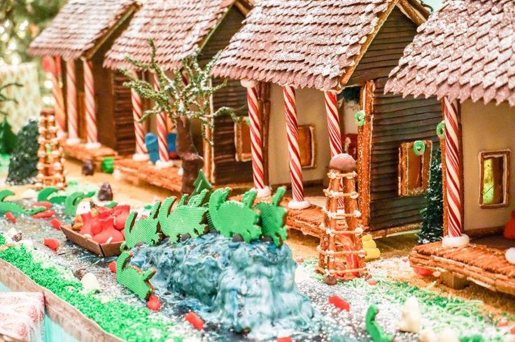 """Cajun Night Before Christmas"" gingerbread village on display at The Roosevelt in New Orleans."