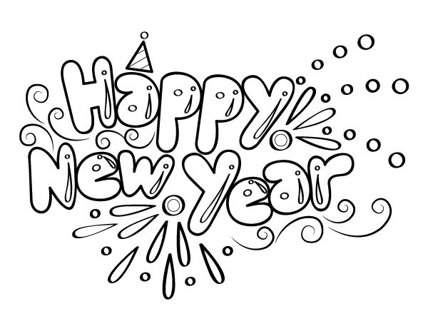Printable Bubble Letter Happy New Year Coloring Page in