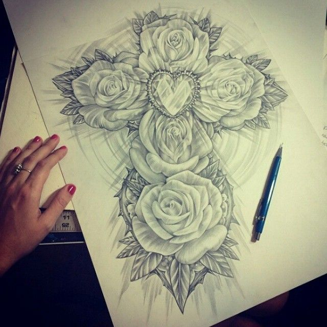 Rose cross pencil drawing by latishawood on instagram pinned via the instapin