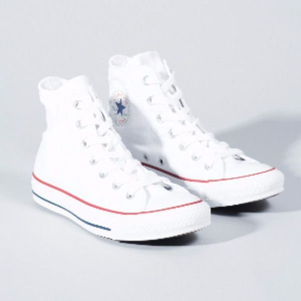 Women's White All Star Core Hi Trainers ($59) ❤ liked on Polyvore featuring shoes, sneakers, hi tops, white hi top shoes, white hi top sneakers, white sneakers and converse sneakers