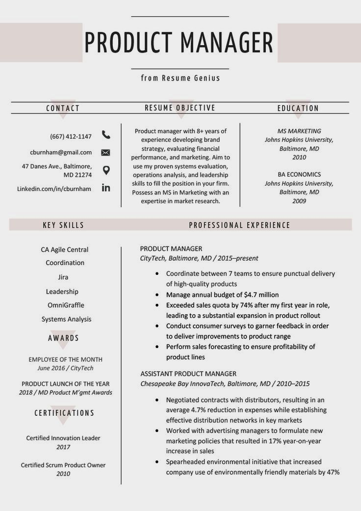 Product Manager Resume Sample & Writing Tips Resume
