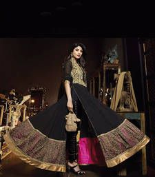 Buy Black Georgeete embroidered semi stitiched salwar with dupatta party-wear-salwar-kameez online