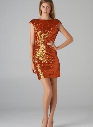 Orange Sequin Dress with Padded Shoulders & V-Neck Back, Dress ...