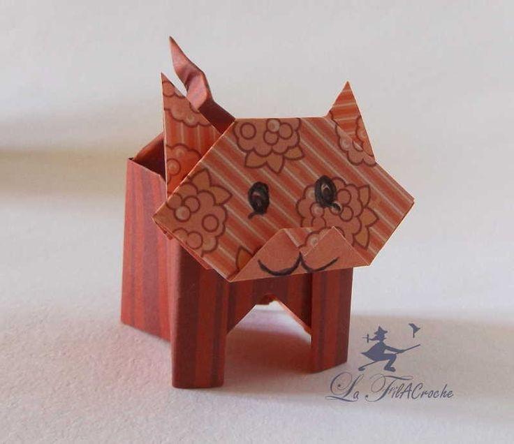Boite chat en papier / sanbo et tête de chat en origami