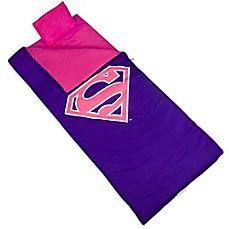 image of Wildkin 3-Piece Superman Shield Sleeping Bag Set in Pink/Purple