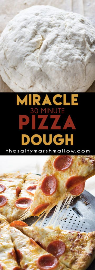 The best homemade pizza dough with a soft, chewy, buttery crust only takes 30 minutes to make!