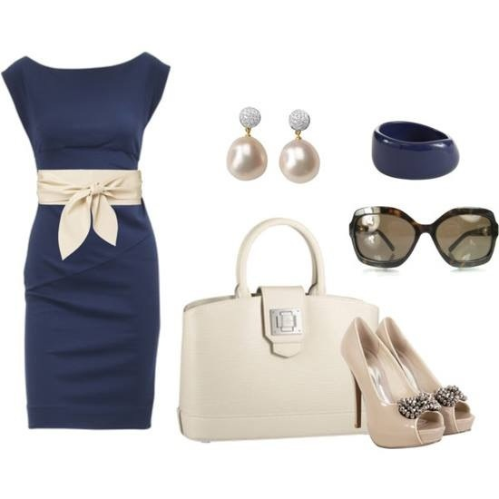 Elegant Navy Blue pencil dress with whit bow mid-waist, white purse, nude/offwhitw peep-toe pumps, navy cuff bracelet and simple pearl drop earrings. Very classy
