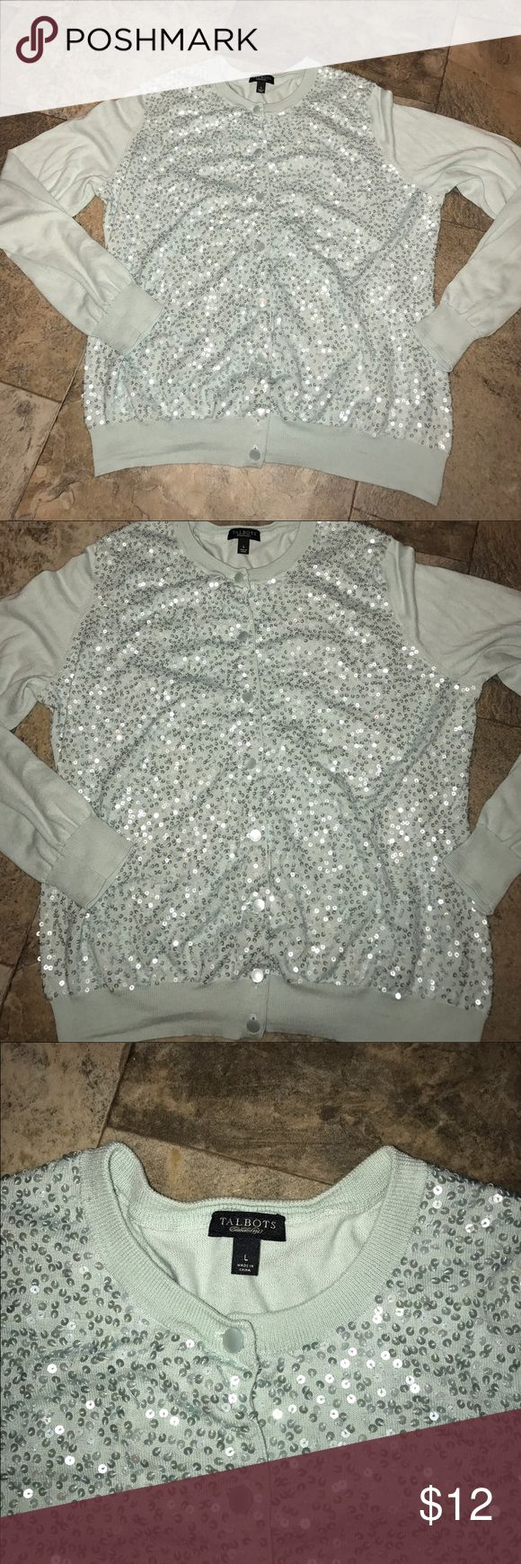 Talbots cardigan sweater with sequins! EUC large Talbots cardigan sweater with sequins! EUC size large Talbots Sweaters Cardigans